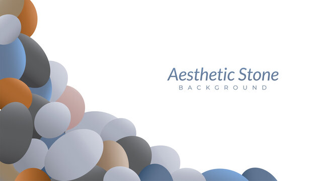 pile of stones vector illustration. aesthetic background design template with blank space. oval shape like an egg.