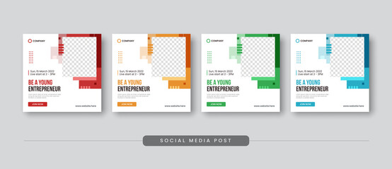 Obraz Be a young entrepreneur social media post template - fototapety do salonu
