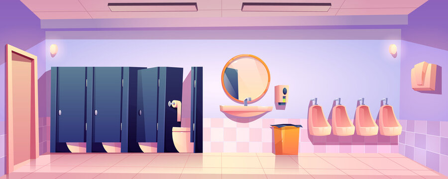 Public toilet for men, empty wc restroom interior