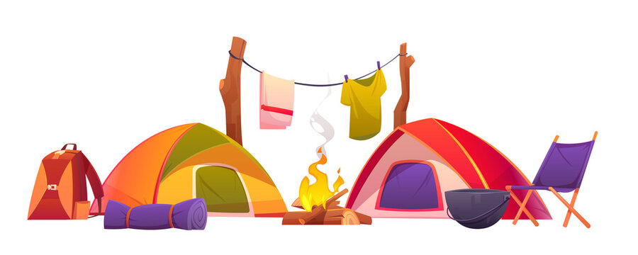Camping and hiking equipment, tents and tools set