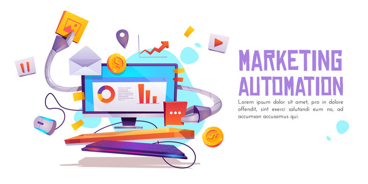 Marketing automation banner. Technology for SEO