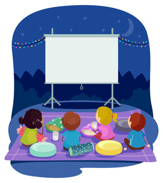 Stickman Kids Backyard Movie Night Illustration