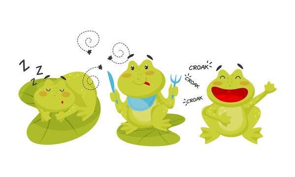 Cute Green Frog Sleeping, Croaking and Eating Flies Vector Set