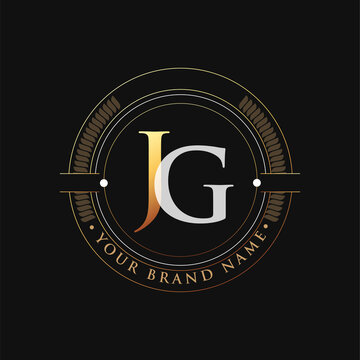 initial letter logo JG gold and white color, with stamp and circle object, Vector logo design template elements for your business or company identity.