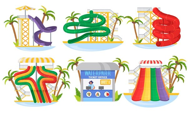 Water park slide set, flat vector isolated illustration. Waterpark ticket office and attractions. Aqua park spiral pipe, tube, waterslide collection. Summer outdoor water amusement, entertainment.