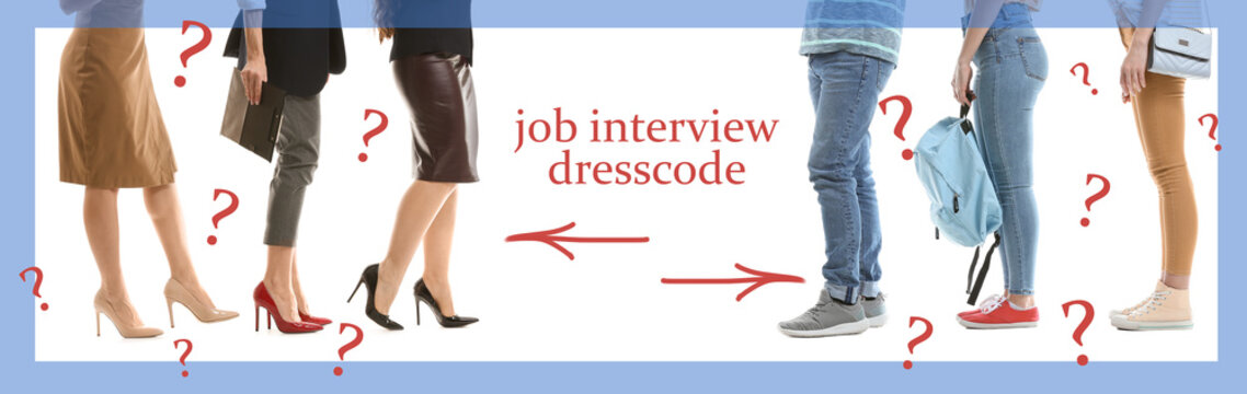 Different young people in formal and casual clothes waiting for job interview on white background
