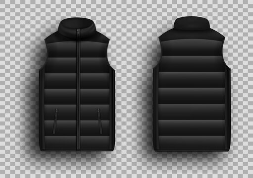 Black winter puffer vest, sleeveless jacket mockup set, vector illustration isolated on transparent background. Realistic warm waistcoat, down padded vest, front and back view.