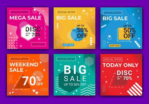 Editable set of social media banners and feed post template designs. Summer clearance sale and digital marketing. For personal and business accounts. Vector illustration for social media apps.