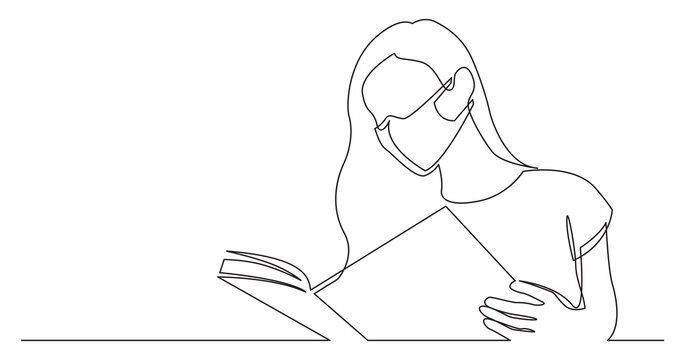 continuous line drawing of long hair woman reading book wearing face mask