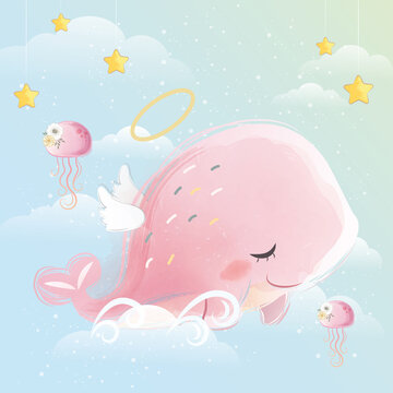Angelic Pink Whale Flying in the Sky