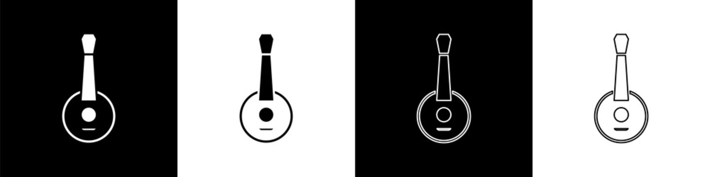 Set Banjo icon isolated on black and white background. Musical instrument. Vector.