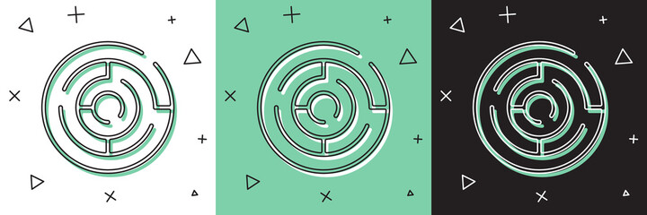 Set Minotaur maze or labyrinth icon isolated on white and green, black background. Ancient Greek mythology. Vector. Wall mural
