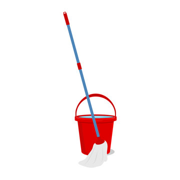 Mop and bucket cleaning vector