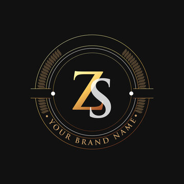 initial letter logo ZS gold and white color, with stamp and circle object, Vector logo design template elements for your business or company identity.