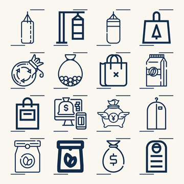 Simple set of chips related lineal icons.