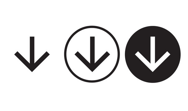 arrow downward icon black outline for web site design and mobile dark mode apps  Vector illustration on a white background