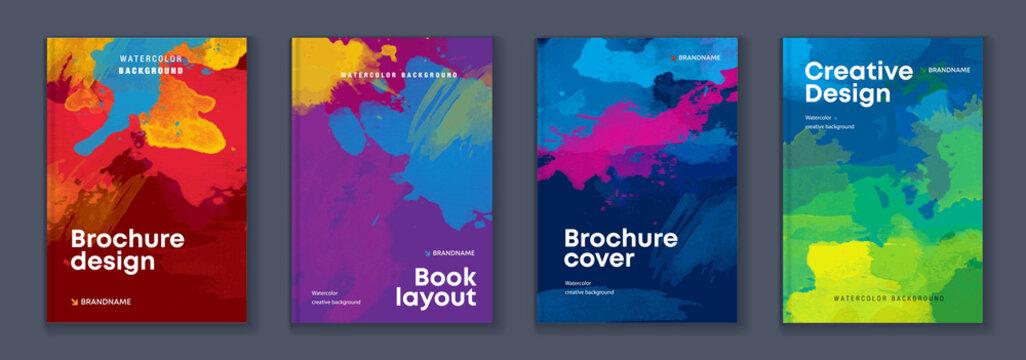 Watercolor A4 booklet colourful cover bundle set