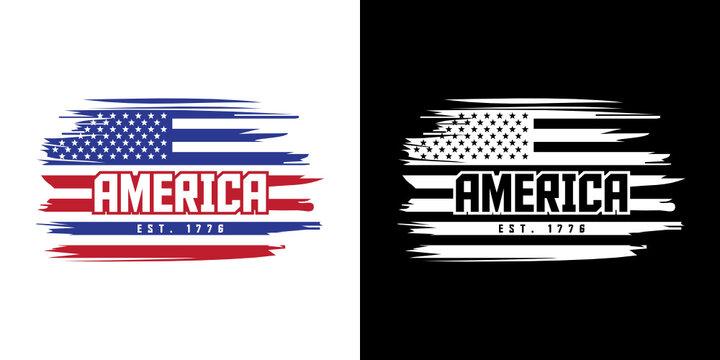 America EST 1776 SVG Cut File   USA Flag T-shirt Design