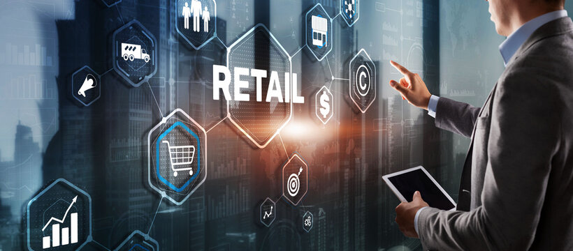 Retail concept marketing channels E-commerce Shopping automation on virtual screen.