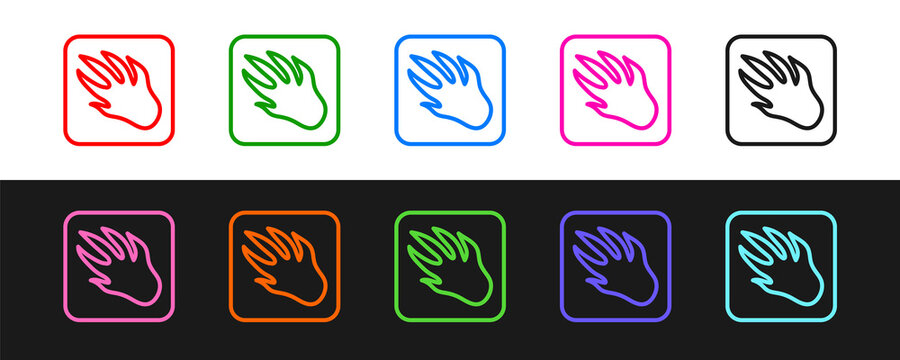 Set line Alligator crocodile paw footprint icon isolated on black and white background. Vector.