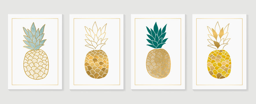 Pineapple wall art Gold background vector.  Hand drawn tropical fruit with golden and watercolor texture. Vector illustration for prints, wall decoration, wallpaper and cover design.