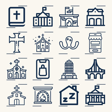 Simple set of exterior related lineal icons.