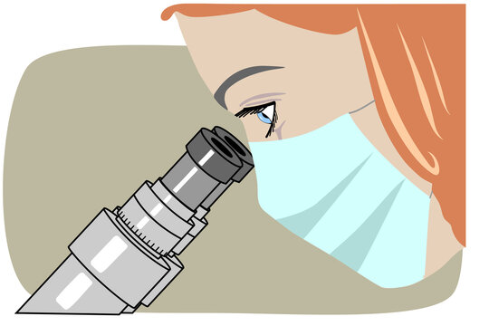 Vector illustration of a masked woman scientist doctor laboratory assistant nurse medical specialist looks through a microscope. It represents a concept of laboratory work, medical research.