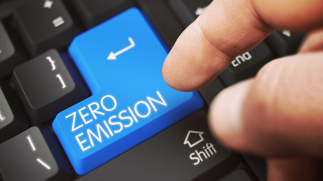 Close Up view of Male Hand Touching Blue ZERO EMISSION Computer Key. 3D Illustration.