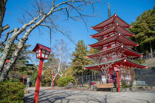 Chureito pagoda in the morning, Japan in autumn
