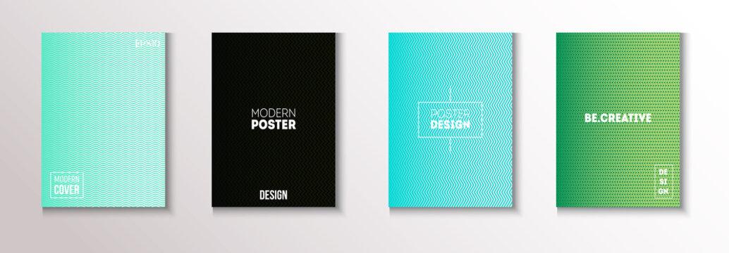 Wavy Minimal Cover Vector Set. Modern Flyer Texture Design. 80s Neon