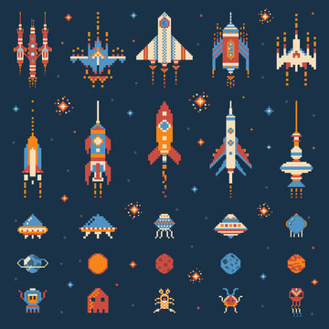 Vintage 8 bit Space Game Icon Set
