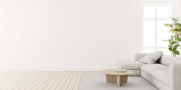 3d render of modern living room with wooden floor and large white plain wall, Minimal sofa set.