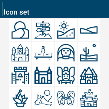 Simple set of ruined related lineal icons.