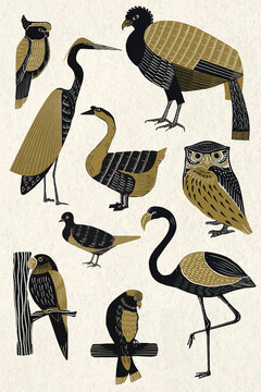 Wildlife animals vector vintage stencil pattern collection
