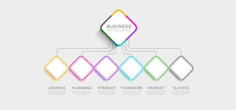 Modern Imitating Neon Thin Line Infographic Template with 6 Steps for Success. Business Process Chart with Options for Brochure, Diagram, Workflow, Timeline, Number Options. Vector EPS 10