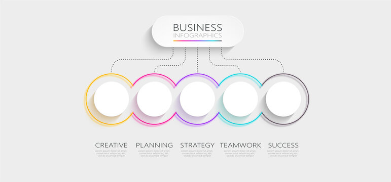 Modern Imitating Neon Thin Line Infographic Template with 5 Steps for Success. Business Process Chart with Options for Brochure, Diagram, Workflow, Timeline, Number Options. Vector EPS 10