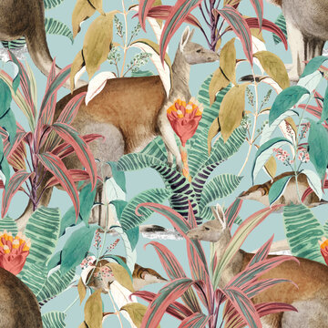 Kangaroo seamless pattern vector background