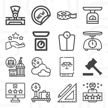 16 pack of judge  lineal web icons set