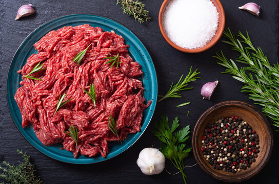 raw beef ground with ingredient