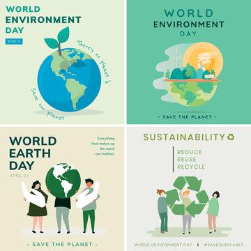 Environment vector social medal template set