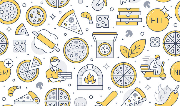 Pizza delivery yellow seamless pattern. Vector background included line icons as courier, cheese, hit, rolling pin, oven, knife bake, shrimp, hot pepper, box outline pictogram for Italian food