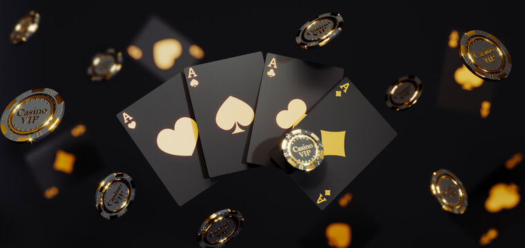 Casino chips and cards on black background. Casino game golden 3D chips. Online casino background banner or casino logo. Black and gold chips. Gambling concept, poker mobile app icon. 3D rendering.