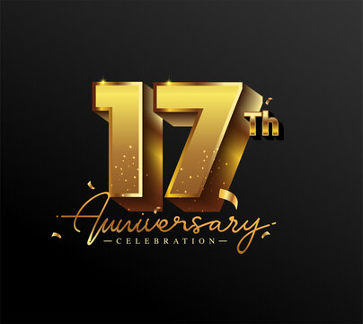 17th Anniversary Logotype with Gold Confetti Isolated on Black Background, Vector Design for Greeting Card and Invitation Card