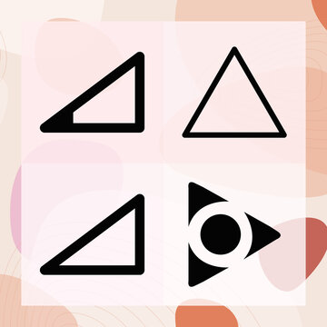 Simple set of wedge shape related filled icons