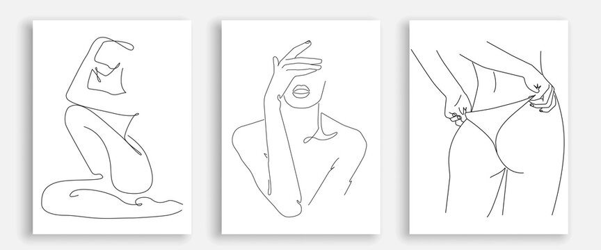 Vector Prints Set with Woman Body Line Art Style. Female Figure Poster. Modern Wall Art, Aesthetic Design. Perfect for Home Decor, Wall Art Posters, or t-shirt Print, Mobile Case. Vector EPS 10