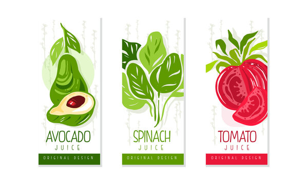 Fresh Vegetable Juice Labels Set, Avocado, Spinach, Tomato Juice Badges, Packaging Design Templates Cartoon Style Vector Illustration