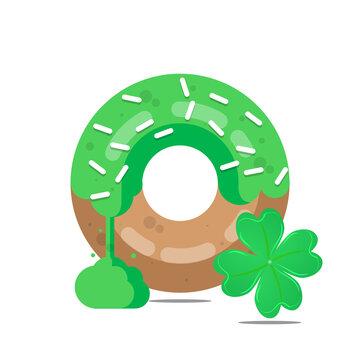 Donut for st patricks day, vector art illustration.