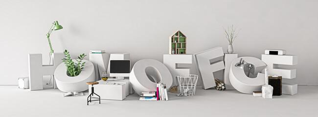 Fototapeta Homeoffice als Wort mit vielen Büro-Utensilien  obraz