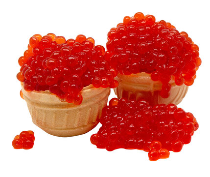 red caviar in a basket of dough isolated on white background for your design or menu