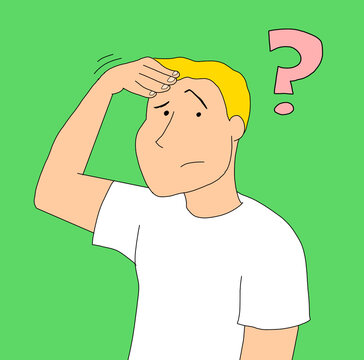Illustration of a young man scratching his head while having a doubt